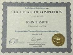 Bid and Proposal Academy Certificate