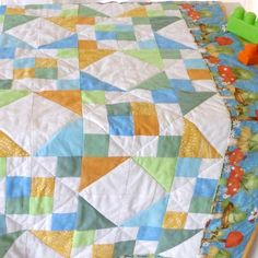 Gender neutral toddler quilt  Nursery quilt for boy or by Sheynale