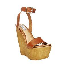 51cfddae78f BEACHY COGNAC LEATHER women s sandal mid wood bottom - Steve Madden Steve  Madden Wedges