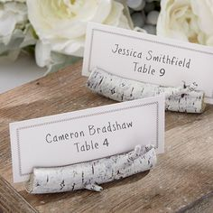 This birch place card holder is the perfect match for your rustic theme and will make a wonderful addition to your reception décor.