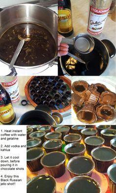 Black russian jello shots in chocolate cups