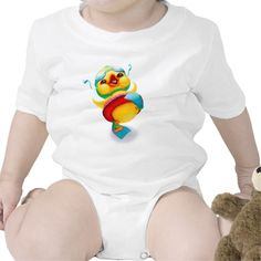 This infant onsie is so flippin' adorable! It features one very happy yellow duck wearing his swim fins, goggles, and floatie. This design is also available in long sleeve and as a t-shirt.