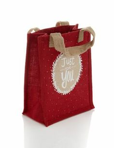 Buy the Red Hessian Reusable Medium Christmas Gift Bag from Marks and Spencer's range. Jute Lunch Bags, Jute Bags, My Shopping List, Christmas Gift Bags, Hessian, Wraps, Reusable Tote Bags, Gift Wrapping, Epiphany