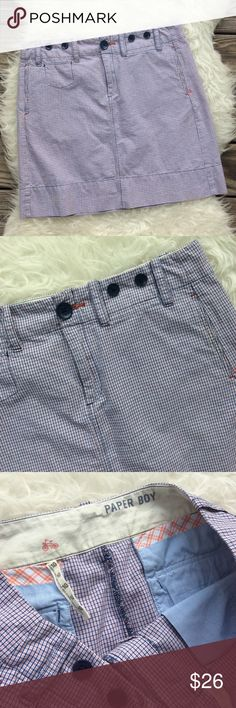 """Anthropologie Paper Boy Skirt Excellent condition Paper Boy Skirt from Anthropologie. Size 10. Navy & red windowpanes on white 100% cotton. 5 Pocket design. Waistband 33"""", hips 40"""", length 18"""". Button & zipper closure. No trades, offers welcome. Anthropologie Skirts"""