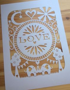 """Elephant LOVE"" personal use paper cutting template 