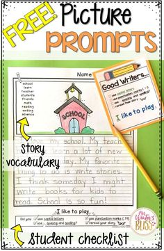 FREE! Writing Picture Prompts~ These picture prompts naturally differentiate your writing center. Each page has key vocabulary to support kindergarten, first and second grade writers. These are a perfect addition to your work on writing center!