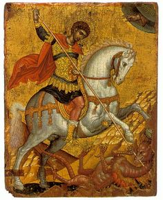 Icon of Saint George Byzantine Museum of Chania Church of San Salvatore Theotokopoulou Street, Old Town CRETE Byzantine Art, Byzantine Icons, Religious Icons, Religious Art, Hl Georg, Holy Art, Saint George And The Dragon, St Georges Day, Russian Icons