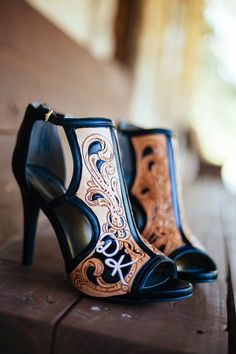 Tooled Leather Heels. Made by RK Leather (@rk_leather) worn for my wedding day!