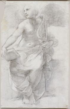 Raphael (Raffaello Sanzio), 1483-1520, Italian, An allegorical figure of Poetry, c.1509-10. Black chalk over stylus underdrawing, 35.9 x 22.7 cm. Royal Collection Trust, London. High Renaissance.