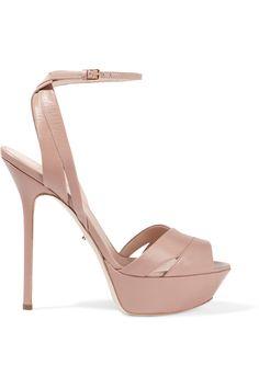 SERGIO ROSSI Leather Platform Sandals. #sergiorossi #shoes #sandals