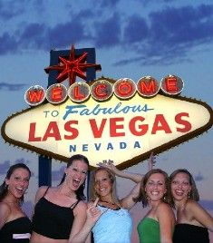 Party-goers at the Vegas sign