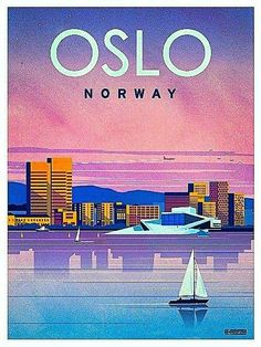 Vintage Poster Wow I've never seen Oslo looking so modern! Art Deco Posters, Vintage Travel Posters, Vintage Postcards, Oslo, Pub Vintage, Photo Vintage, Tourism Poster, Poster Ads, Places To Travel