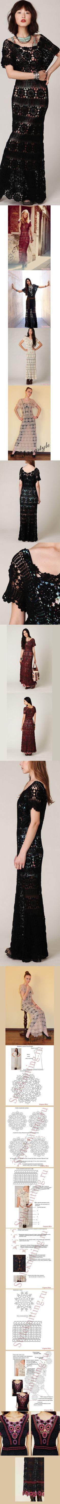 Нарядное длинное платье крючком. http://yarnstore.by/blog/vyazanoe-kryuchkom-plate-free-people