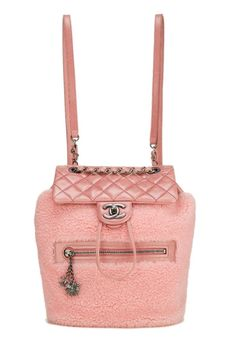 99976bbca662 Chanel Pink Quilted Calfskin & Faux Shearling Mountain Backpack - What Goes  Around Comes Around Back