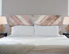 Herringbone Rustic Headboard White weathered finish by HolliMox Home Decor Bedroom, Bedroom Upgrade, Bedroom Furniture Beds, White Headboard, Rustic Headboard, California King Headboard, Bed Frame And Headboard, Bedroom Furniture, Headboards For Beds
