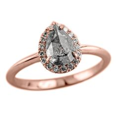 love, but the band needs to be a little less coppery -Salt & Pepper Diamond Halo Engagement Ring   The ring features a beautiful natural salt & pepper diamond.