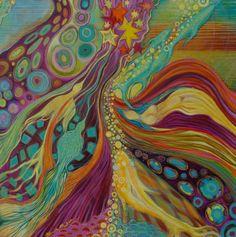 Acrylique, pastel gras, encre, 80/80cm Energie spirituelle. Artiste Patricia Mouton.