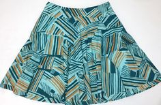 Odille Anthropologie Teal Tangerine Abstract Full Circle Lined Skirt Size 8 | eBay