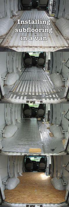 Installing a subfloor in a camper van: