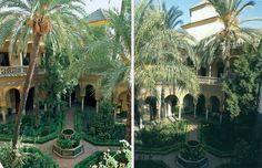 El impresionante patio principal de Dueñas,con susu arcos,su pintoresca fuente, sus palmeras y los parterres que delimitan los pasillos de acceso.