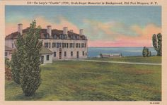 New York Old Fort Niagara De Lery's Castle Building 1930s Linen Vintage Postcard