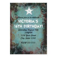 Country Western Cowgirl Sweet 16 Invitation Invites