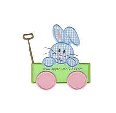Animal Applique Designs :: Rabbits & Lambs :: Bunny Wagon 2 Applique Design
