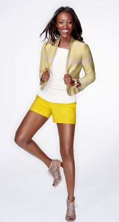 "The sunny yellow shorts!  Cotton front welt pocket shorts with 6"" inseam- Style #271384"