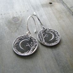 Forest Moon Earrings Fine and Sterling Silver by SilverWishes
