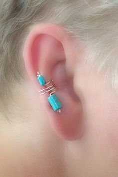 Ear Cuff Pair/ Turquoise /Silverplate/ Signature by thelazyleopard, $15.00