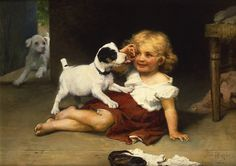 """""""Ruff Play"""" (c. 1889), by English artist - Arthur John Elsley (1860-1952) and Frederick Morgan, Oil on canvas, 26 x 36 inches, Signed by both Arthur J. Elsley and Fred Morgan, Rehs Galleries, Inc., New York City, USA, Private collection:  This is the only known collaboration between Arthur John Elsley and Fred Morgan, signed by both artists."""