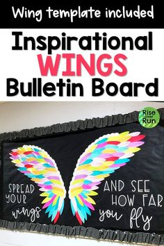 This wing bulletin board idea looks awesome! Inspirational message reads Spread your wings and see how far you fly! Looks great for classroom decor or in the hallway. Students can stand in front of the wings for pictures. Hallway Bulletin Boards, Welcome Bulletin Boards, Elementary Bulletin Boards, Bulletin Board Design, Summer Bulletin Boards, Halloween Bulletin Boards, Interactive Bulletin Boards, Reading Bulletin Boards, Preschool Bulletin
