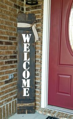 Welcome your family and friends to your home in a BIG way with one of our large vertical Welcome Signs. Sign is 5 feet tall (60 inches). Includes burlap and jute. Our signs are painted and distressed to mimic naturally weathered wood and to let the wood grain show through. No vinyl is used on our signs -everything is hand painted. ✿ FEATURES ~Hand painted / Distressed ~Solid cedar wood (cedar fencing) ~Size: 11 wide x 60 tall ~Weight: Approximately 5.5 lbs. ~Natural Jute Rope wrapped alo...