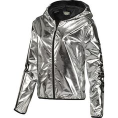 ADIDAS Women's Windbreaker, Metallic Silver / Black,