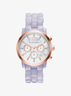 Audrina Rose Gold-Tone And Wisteria Acetate Watch STORE STYLE #: MK6312