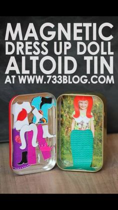 DIY Magnetic Dress Up Doll Altoid Tin use kids own pictures Mini Choses, Diy For Kids, Crafts For Kids, Mint Tins, Diy Magnets, Tin Art, Altoids Tins, Operation Christmas Child, Dress Up Dolls