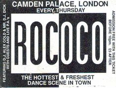 Rococo - Early Rave Flyers