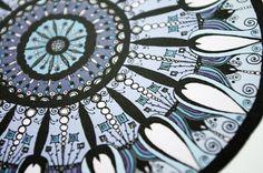 Blue Mandala Flower Print in Steel Blue Gray by sometimesiswirl
