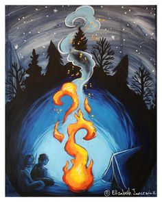 Campfire in the Woods Art Print by ElizabethJJancewicz on Etsy