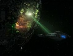 """Voyager escapes a Borg sphere by beaming a torpedo aboard a Brunali shuttle. Star Trek: Voyager """"Child's Play"""" Star Trek Cast, Star Trek Voyager, Starfleet Ships, Star Family, Star Trek Starships, Star Trek Universe, Star Trek Ships, Big Star, Science Fiction"""