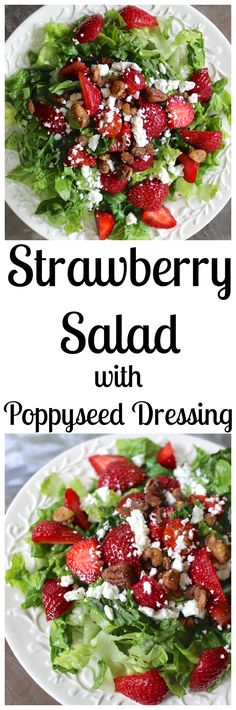 Strawberry Salad with pecans, feta, fresh berries, and a naturally-sweetened poppyseed dressing- the perfect summer salad!