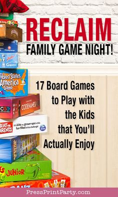 Great family board games for family game night. Fun family games for all ages. Best games to play at home. Christmas Party Themes, Fun Party Themes, Party Fun, Party Ideas, Family Board Games, Fun Board Games, Games For Kids, Games To Play, Funny Party Games