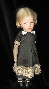 Kaethe-Kruse-Puppe-Stoffkopf-Ilsebill-52cm-40er-Jahre