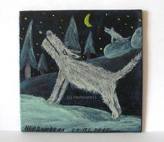 NÄCHTLICHE GESPRÄCHE von Herbivore11 Unikat Minibild Wolf Wölfe Wald Inchie Bild