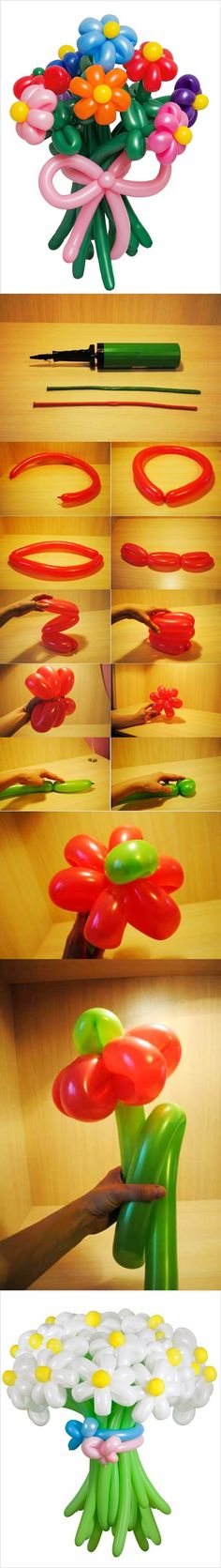 Flores con globos - DIY Balloon Flowers https://www.facebook.com/icreativeideas                                                                                                                                                                                 Más