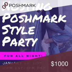 Hosting my first Poshmark party!!!! Hosting my first Poshmark party!!!! To be considered for a HP, please show some posh love and follow me, share this listing and other listings in my closet, and comment some of your favorite posh closets below! Can't wait to see you all at the party! Accessories