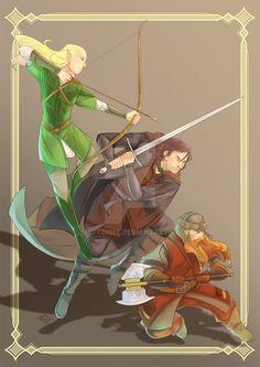 Леголас, Арагорн и Гимли The Golden Trio by ShifTDigiT