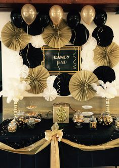 Gold And Black Candy Bar Decor Gatsby Birthday Party Gatsby