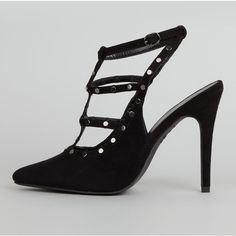 New Look Black Suedette Strappy Stud Pointed Heels (49 CAD) ❤ liked on Polyvore featuring shoes, pumps, black, black pointy-toe pumps, black shoes, black stilettos, black strap pumps and black studded pumps