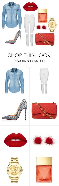 """""""Untitled #119"""" by smooney019 on Polyvore featuring Vero Moda, Topshop, Christian Louboutin, Chanel, Lime Crime, Movado and Michael Kors"""